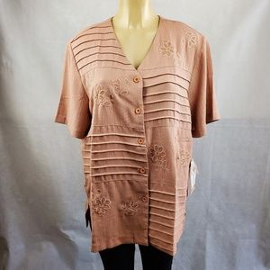 Alfred Dunner Bayville Blush Brown Top Size 18
